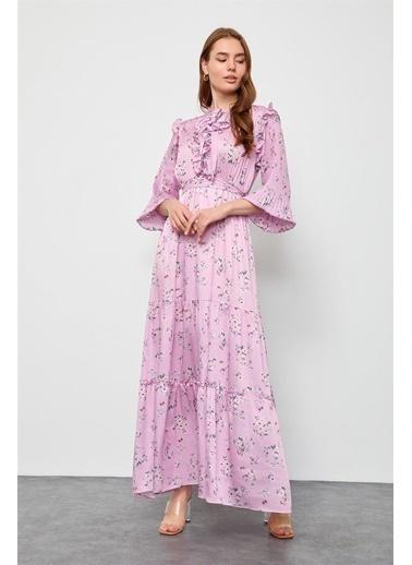 Setre Lila Floral Desen Midi Elbise Pembe